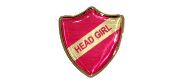 School badges - Pink print with gold border & background | www.namebadgesinternational.co.uk